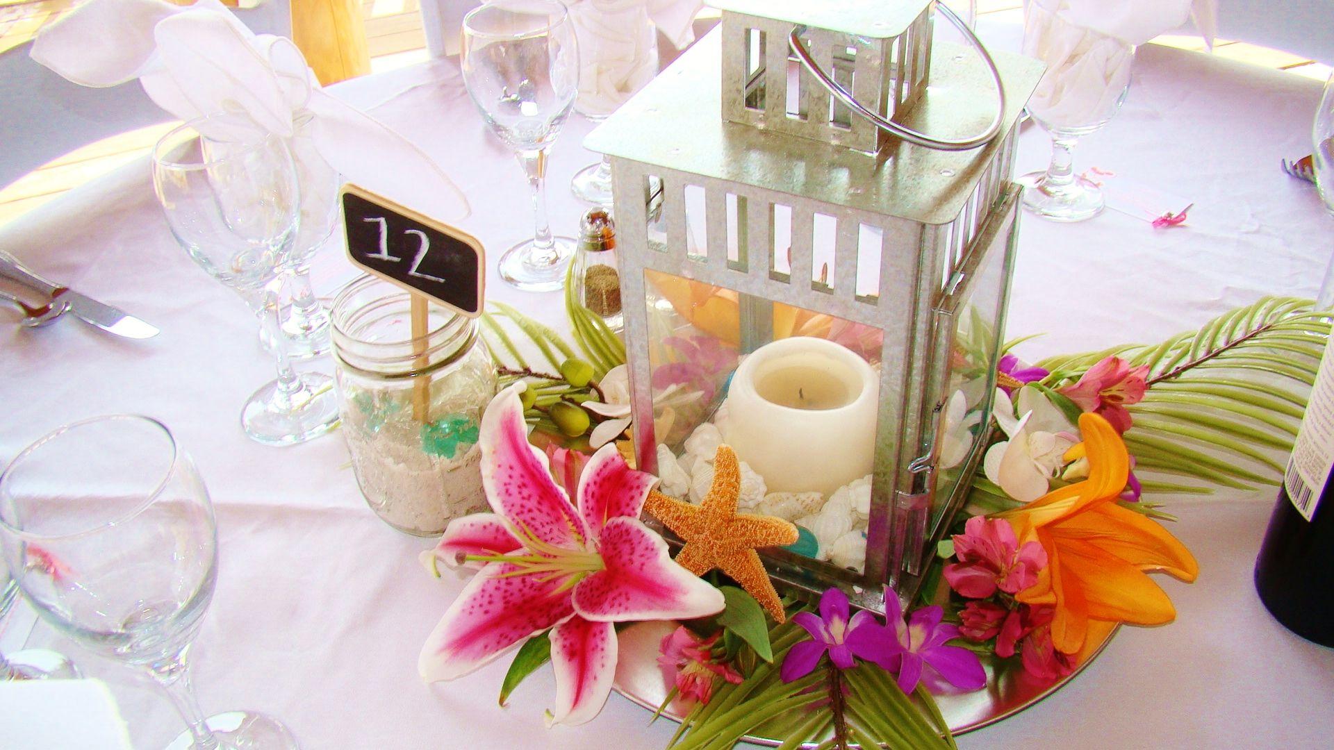 fresh tropical flower centerpiece, use the same flowers on wedding ...