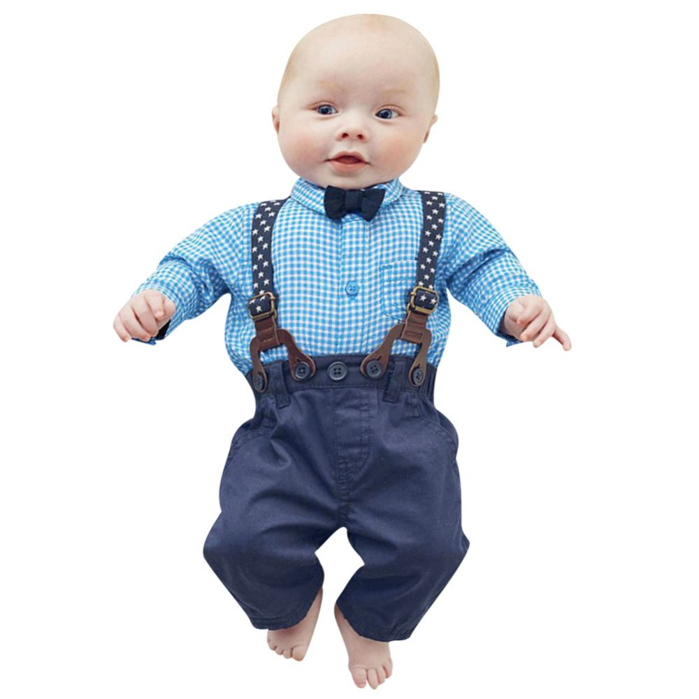New gentleman newborn baby boys wedding clothes set kids infant