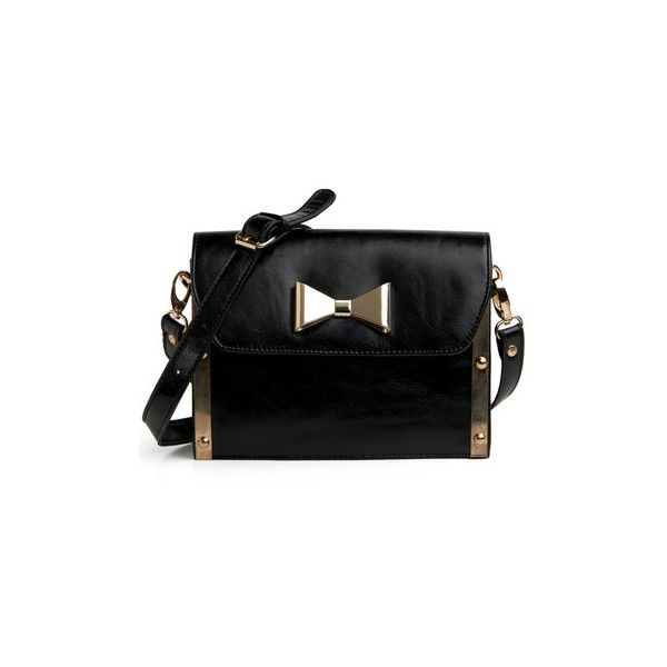 State Your Case Shoulder Bag (€61) ❤ liked on Polyvore featuring bags, handbags, shoulder bags, purses, black, bow, gold, bow handbag, zipper purse and purse shoulder bag