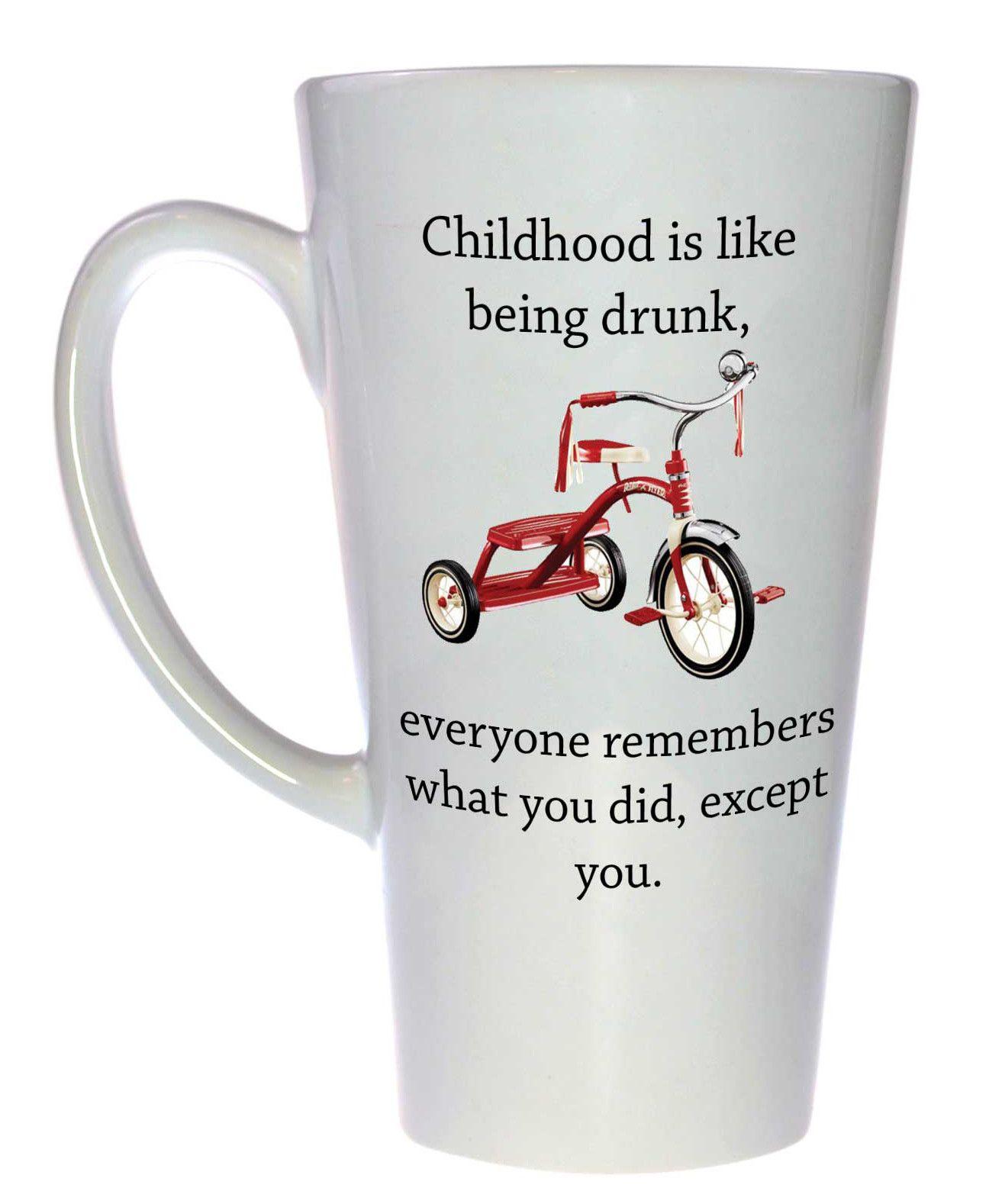 Drunk Childhood Coffee or Tea mug, Latte Size