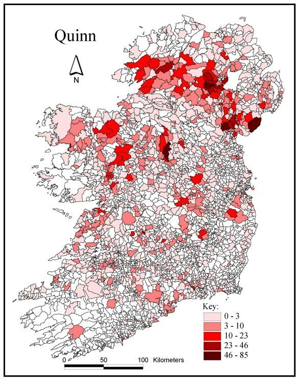 Map Of Quinn Ireland.University College Cork Atlas Of Irish Names Quinn Irish Maps