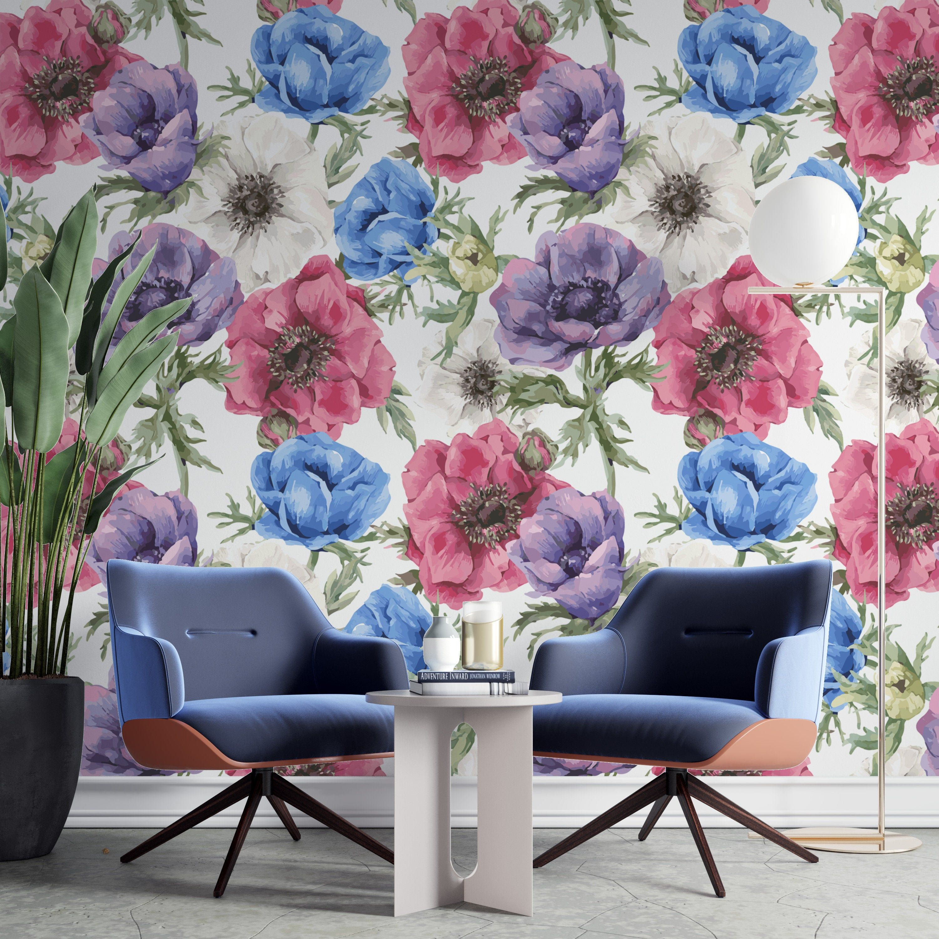 Removable Wallpaper Watercolor Blue Floral, Peel and Stick