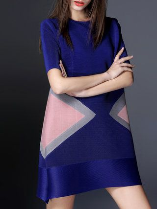 Blue Color-block Crew Neck A-line Short Sleeve Mini Dress