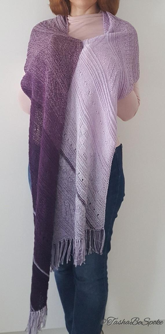 Photo of Strickschal Lavendel Traum mit Fransen Baumwolle langer Schal Modeaccessoires für Frühling Sommer Herbst Geschenk für Frauen Handgemachter Schal