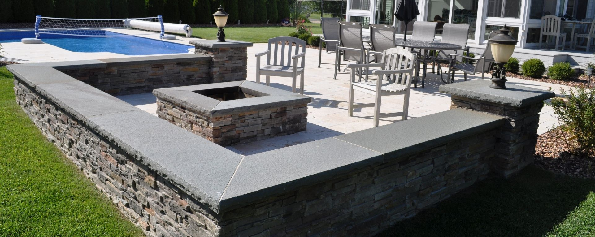 concrete patio with square fire pit. Fire Pits | Contractor Outdoor Custom Tables Long Island NY We Concrete Patio With Square Pit