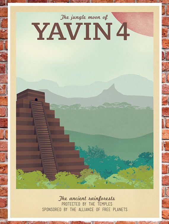 Retro Travel Poster - Star Wars - Yavin 4 | Etsy, Teacup Piranha, $75 + shipping, 40x60
