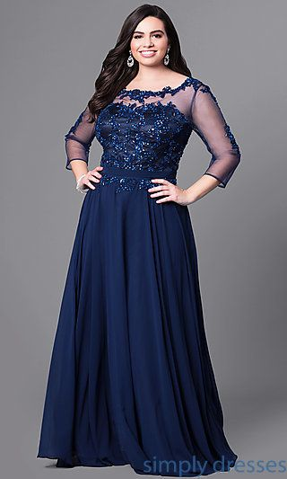 86576dd73e518 Shop long plus-size prom dresses with sleeves at Simply Dresses. Plus-size  formal dresses under  200 with beaded lace and three-quarter sleeves.
