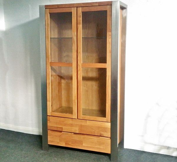Ex Display - Lennox High Quality Solid Oak & Brushed Steel Display Cabinet  - Only £359 from The Interior Outlet - Clearance Furniture Warehouse  Priory Business Park  Fitzwilliam  Pontefract WF9 5BZ  West Yorkshire.