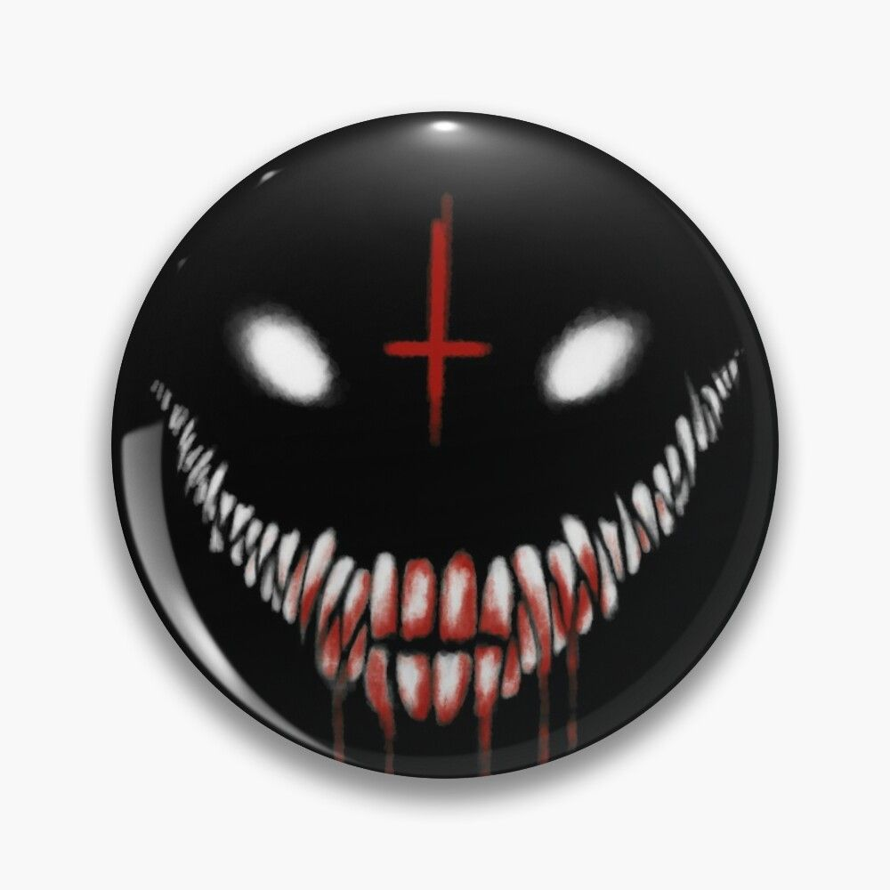 Creepy Anime Smile Pin Button By Tommy Moore In 2021 Evil Smile Creepy Smile Anime Smile