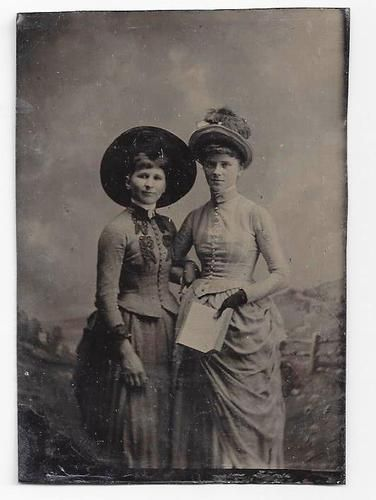 Tintype Photo 2 Fashionable Women Bustles Plumed Hat Embroidered Bodice w Book | eBay