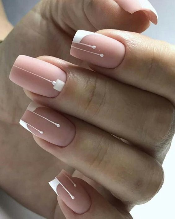 Precious Nail Art With Pink And White Colors Square Nail Designs Simple Nails Trendy Nails