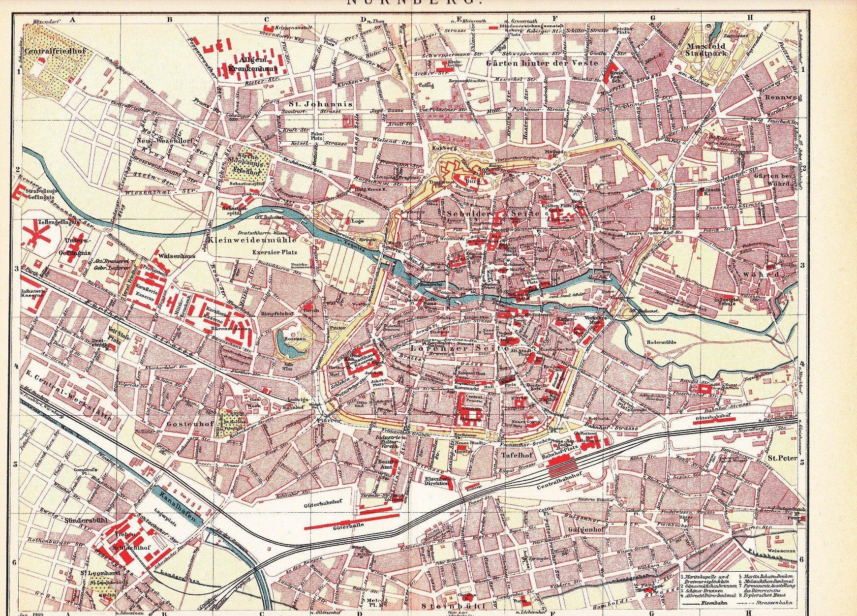 20 City Map of Nuremberg or Nürnberg, Bavaria, Germany at the ...