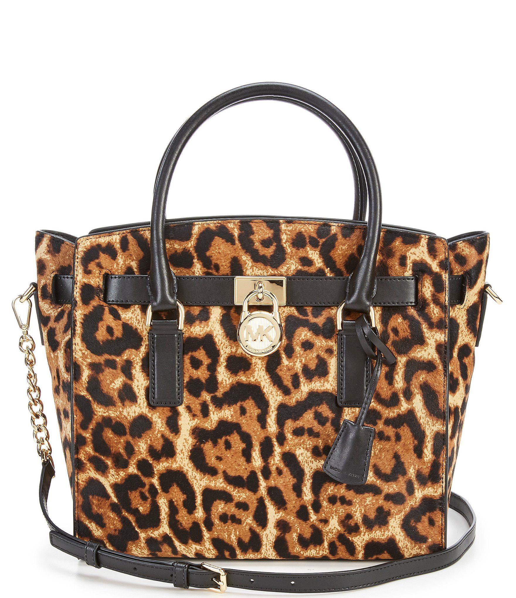 MICHAEL Michael Kors Hamilton Leopard-Print Haircalf Chain-Strap Large  Satchel