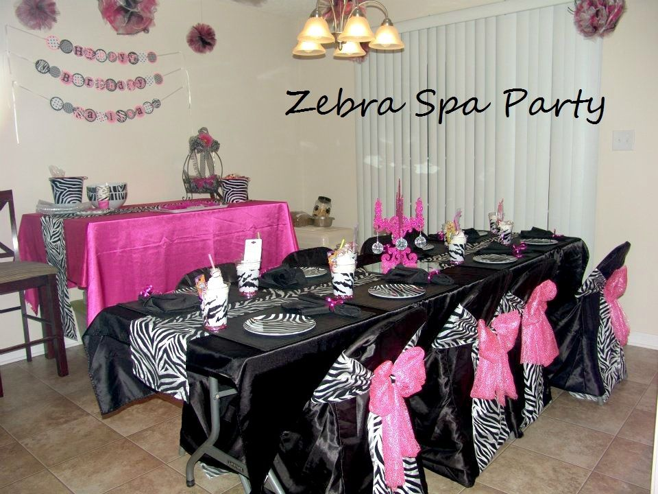 Zebra Spa Party Decorating Ideas Spa party favors Spa party and