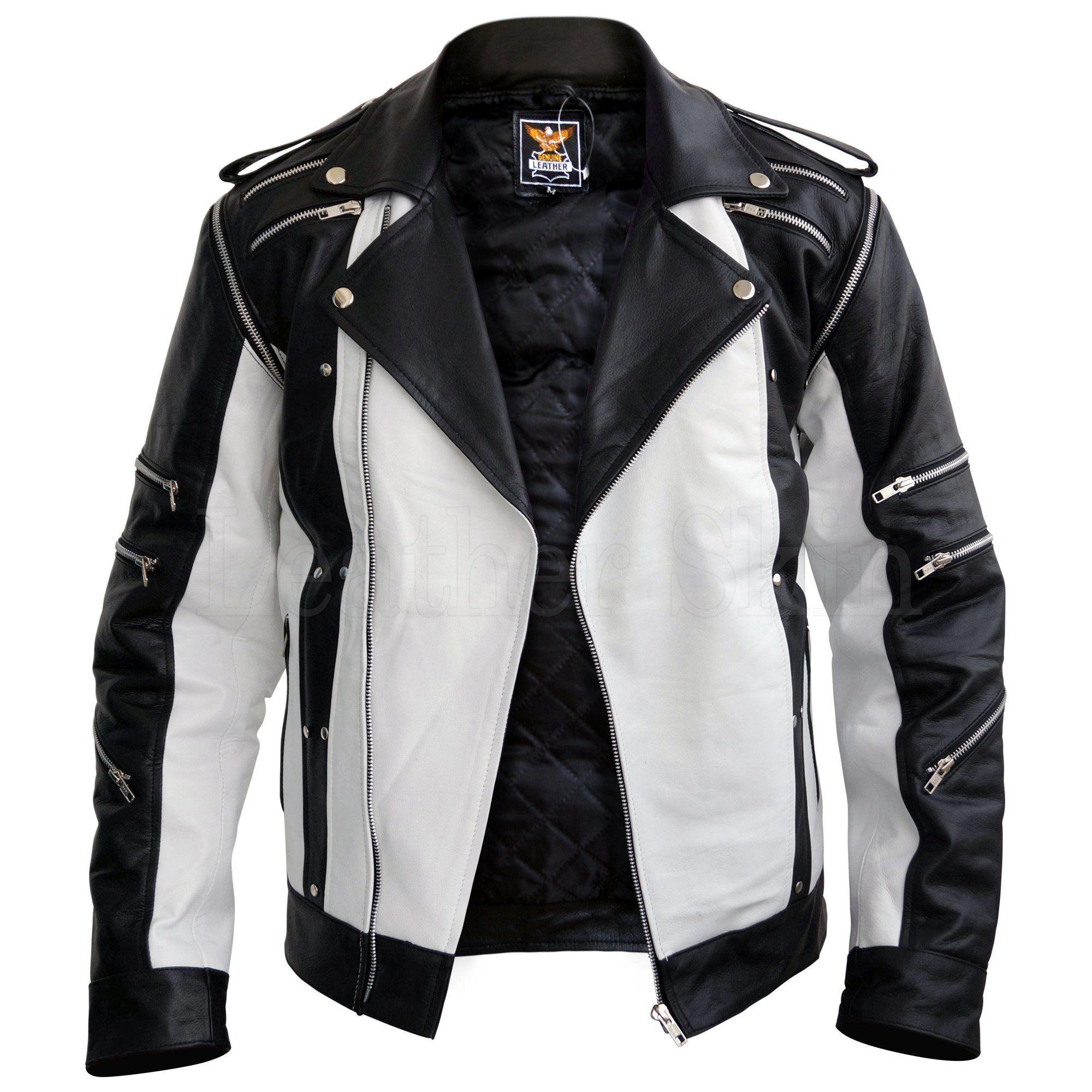 Men Black & White Thriller Premium Genuine Pure Real Leather Jacket