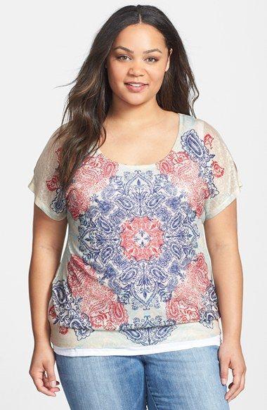 2e6d8d1c9829e Plus Size Women s Seven7  Mosaic  Print Cold Shoulder Top