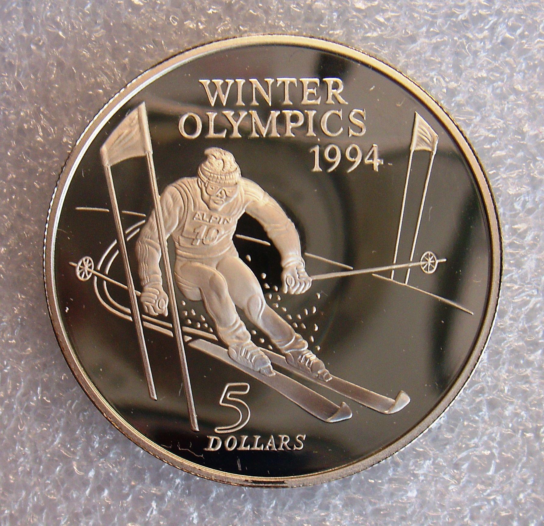New zealand, 5 dollars, QP silver coin .925, 1994, winter