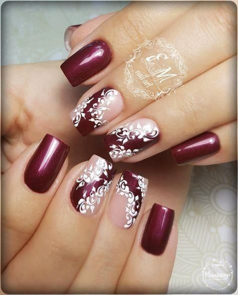 Nail Art Winter Nails In Burgundy With White Lace Nail Design Kathy Now Lace Nail Design Lace Nails Nail Designs