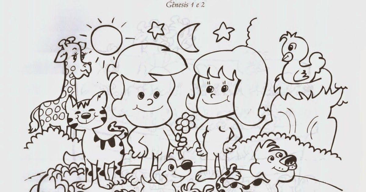 Desenhos Para Colorir Da Criancao Do Mundo A Criacao Adao E Eva