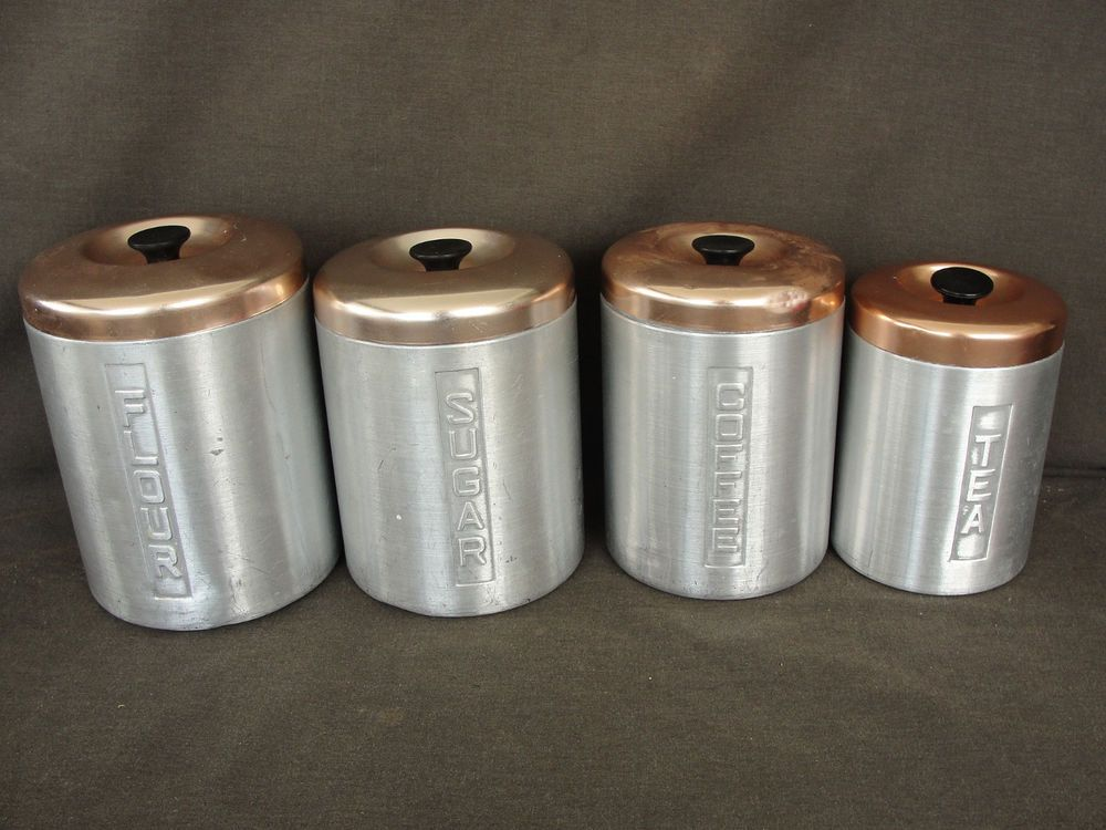 Set of 4 Mid Century Copper Top Brushed Aluminum Canisters