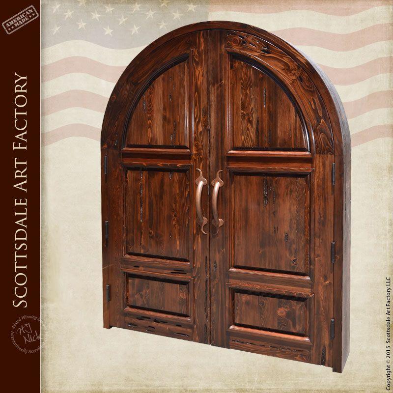 Handcrafted Custom Wood Doors - Arched Double Door - Exterior ...