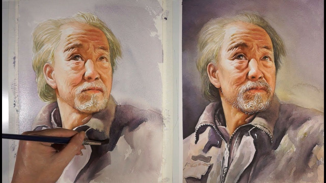 Watercolor Painting Portrait Of The Old Man Youtube Old Man