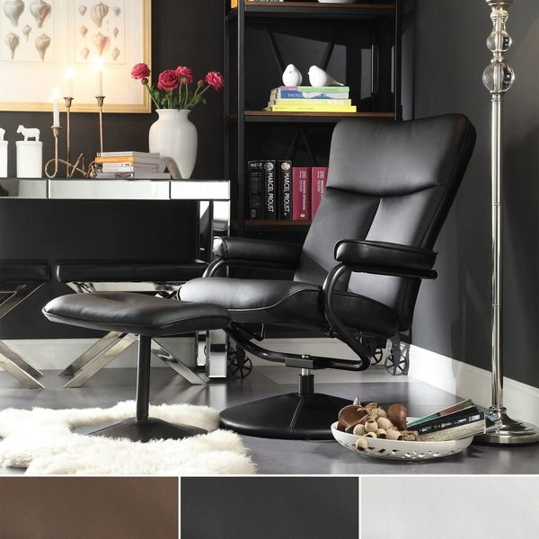 TRIBECCA HOME Olivia Bonded Leather Swivel Recliner Chair With Ottoman    Overstock™ Shopping   Big