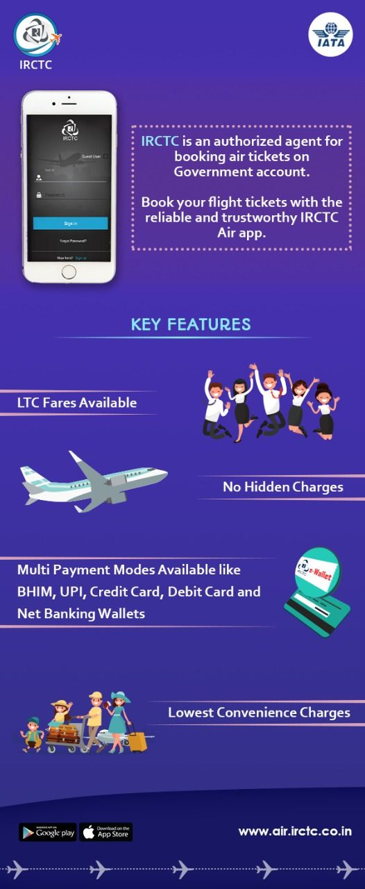#IRCTC offers air tickets at lowest convenience rates with LTC fares and multiple payment options like BHIM. UPI.… | Flight ticket. Air tickets ...
