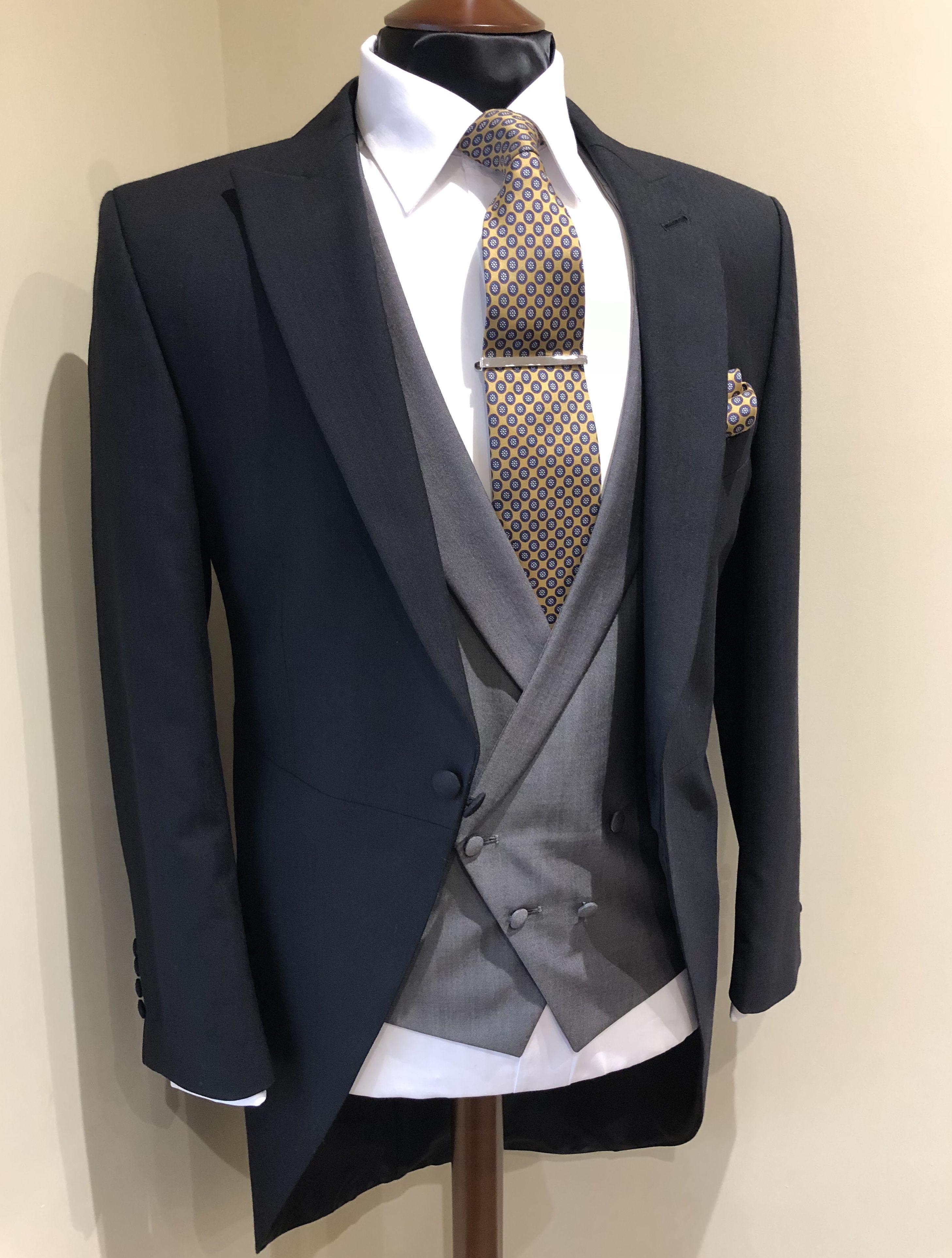 Black Morning Suit With Grey Double Breasted Waistcoat Mustard Tie Groom Wedding Suit Wedding Suit Hire Groom Suit Black Wedding Morning Suits