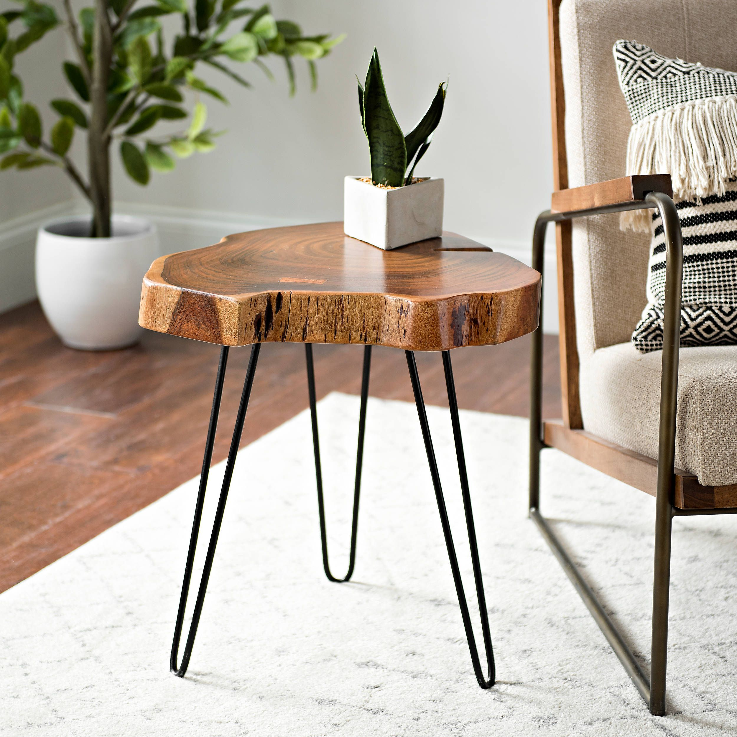This Is How To Nail Sophisticated Boho Vibes In Your Living Room Hunker Side Table Decor Side Table Wood Table Decor Living Room [ 2500 x 2500 Pixel ]