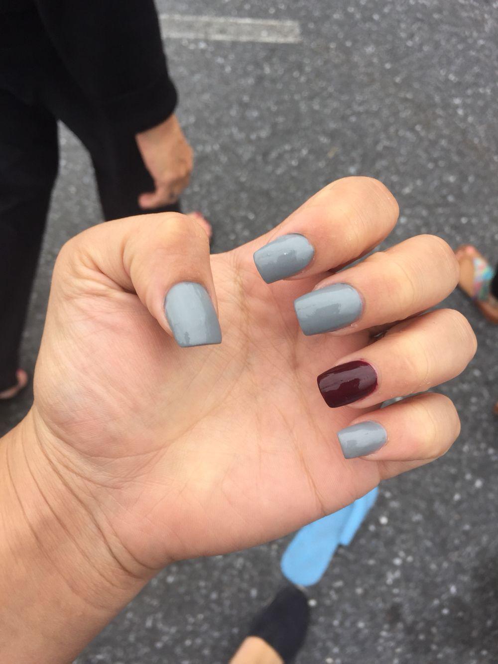 maroon and grey nails