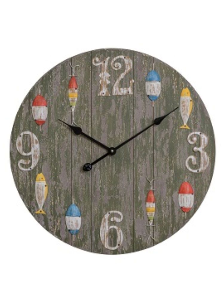 Gone Fishing Wall Clock Cottage Home Wall Clock Grey Wall Clocks Oversized Wall Clock