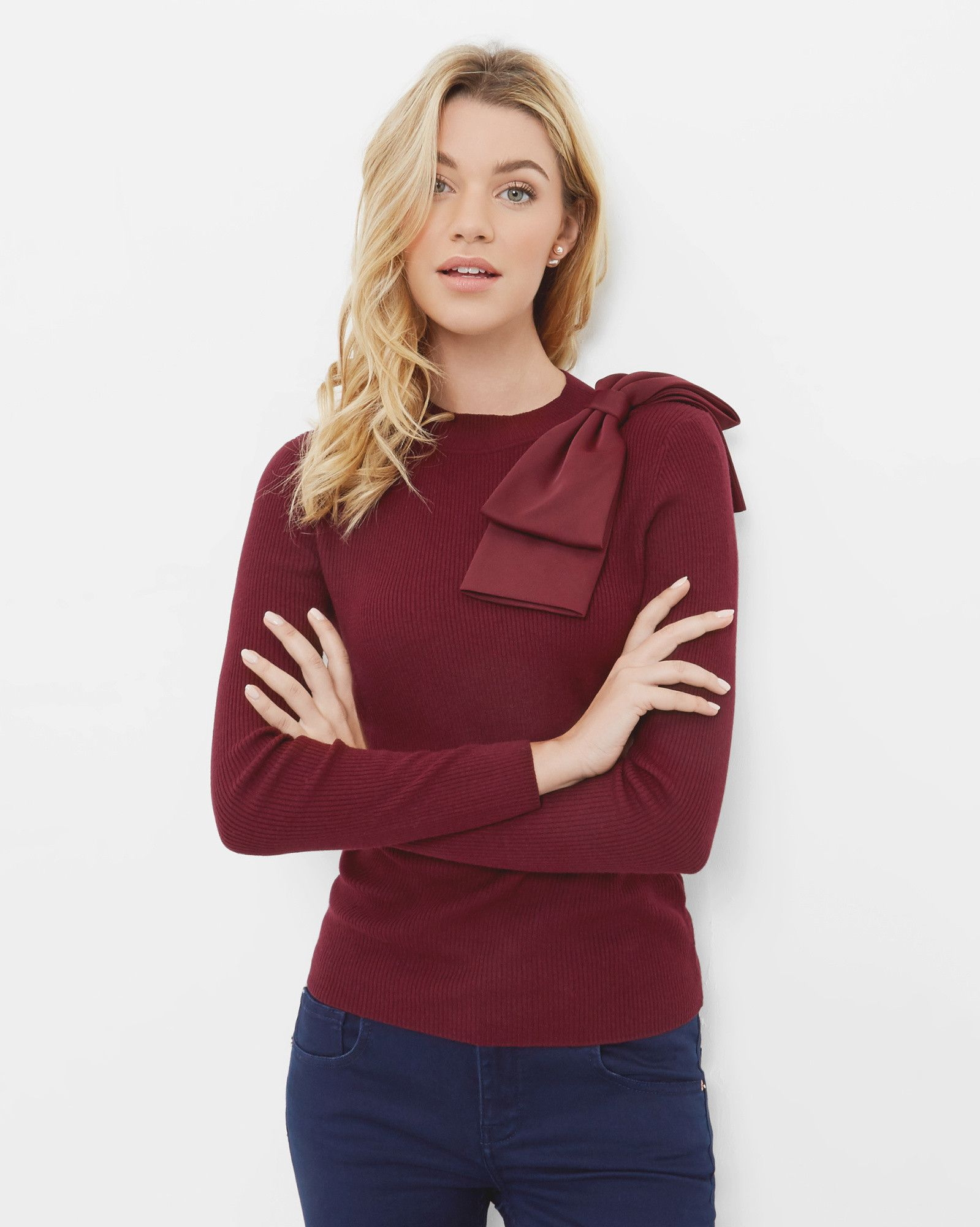 Bow detail ribbed sweater Maroon | Sweaters | Ted Baker