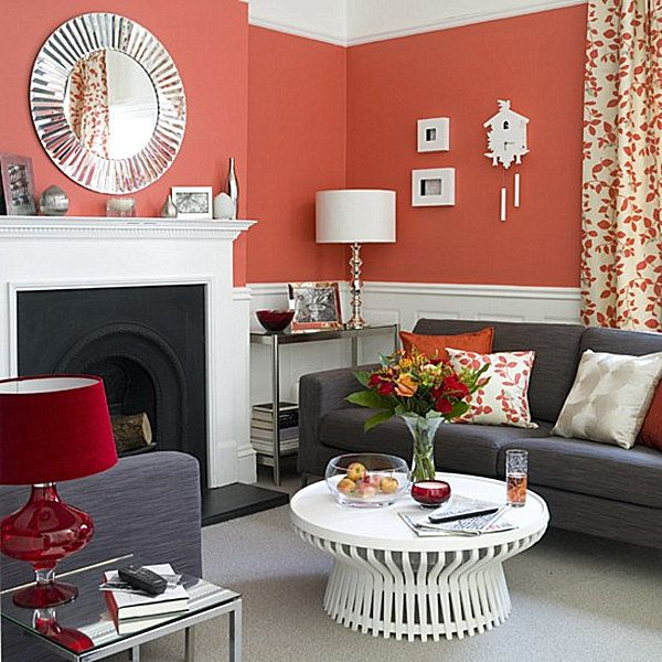 Decorating With Shades Of Coral Living Room Orange Coral Living Rooms Living Room Red #peach #living #room #curtains