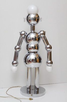 Torino Robot Lamp Vintage Chrome Art Deco Atomic Lamp Large Size Robot Lamp Retro Lamp Vintage Lamps
