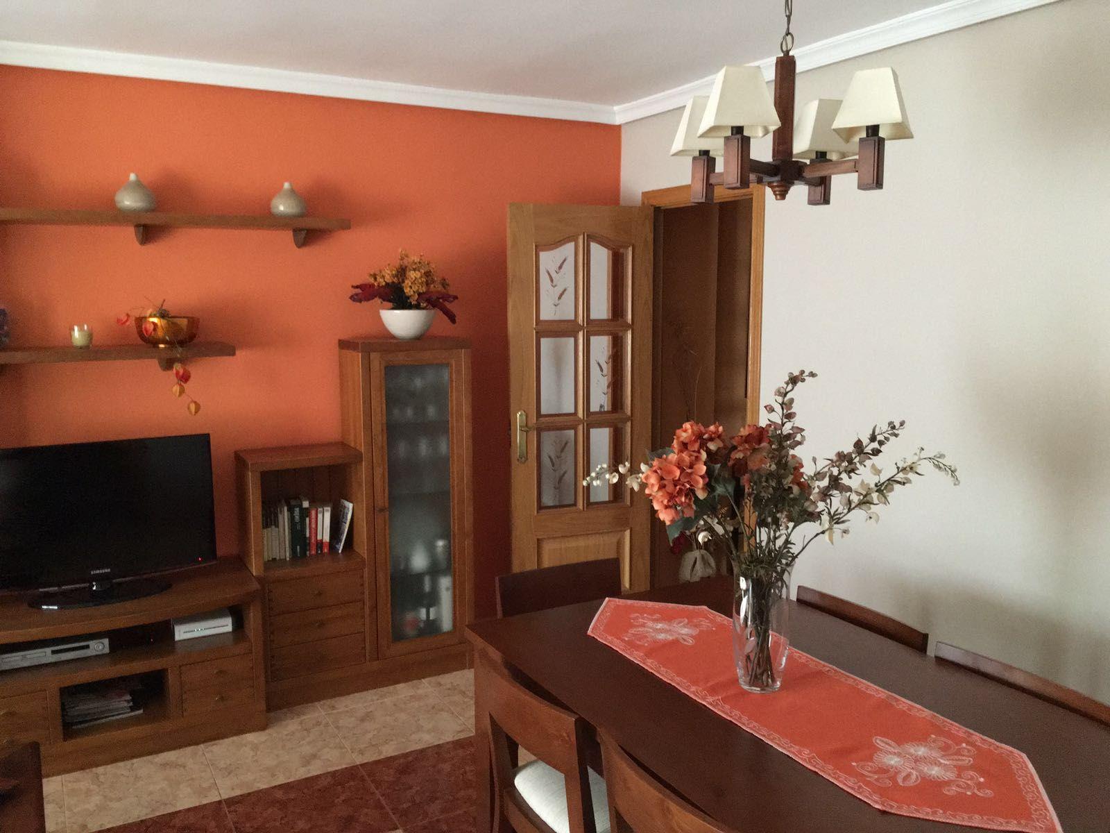 Salon Pintado En Dos Colores Color Teja Y Gris Claro Pintura - Pintar-el-salon-de-gris