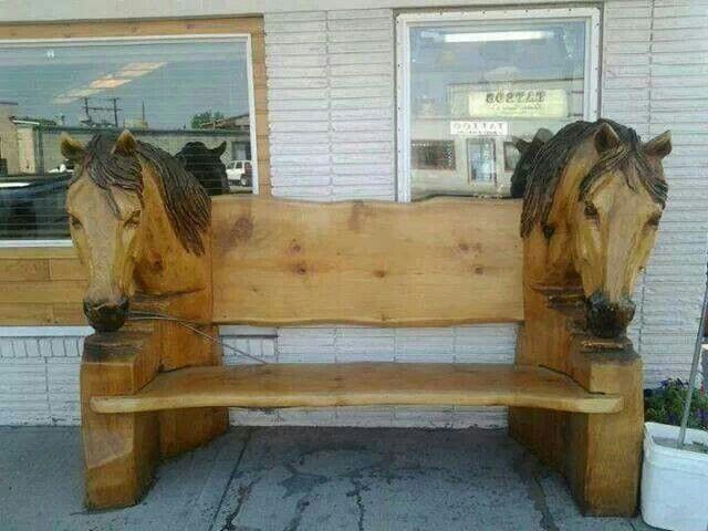 Beautiful Horse Head Bench Carving Wood Stone Antler