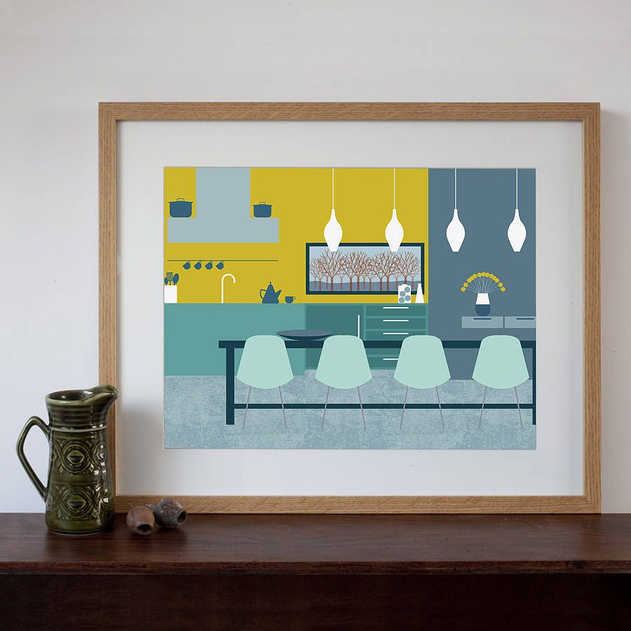 Mid Century Modern Dining Room Art Print  Dining Room Art Mid Glamorous Wall Art For A Dining Room 2018