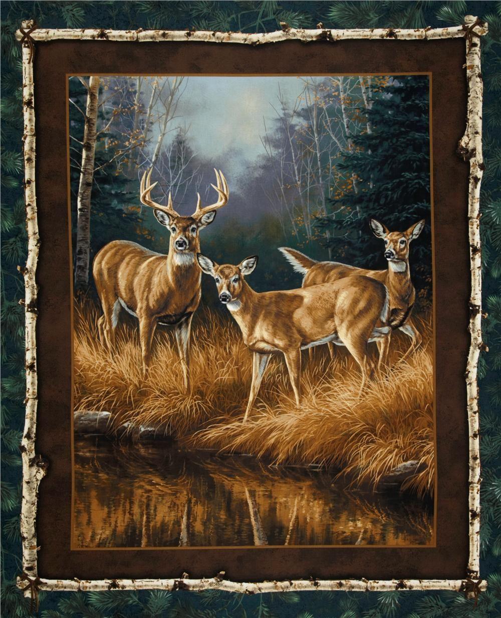 Unknown Intruder Portrait Panel Green/Brown; 36  x 44 ; $7.48 per ... : wildlife quilt fabric - Adamdwight.com
