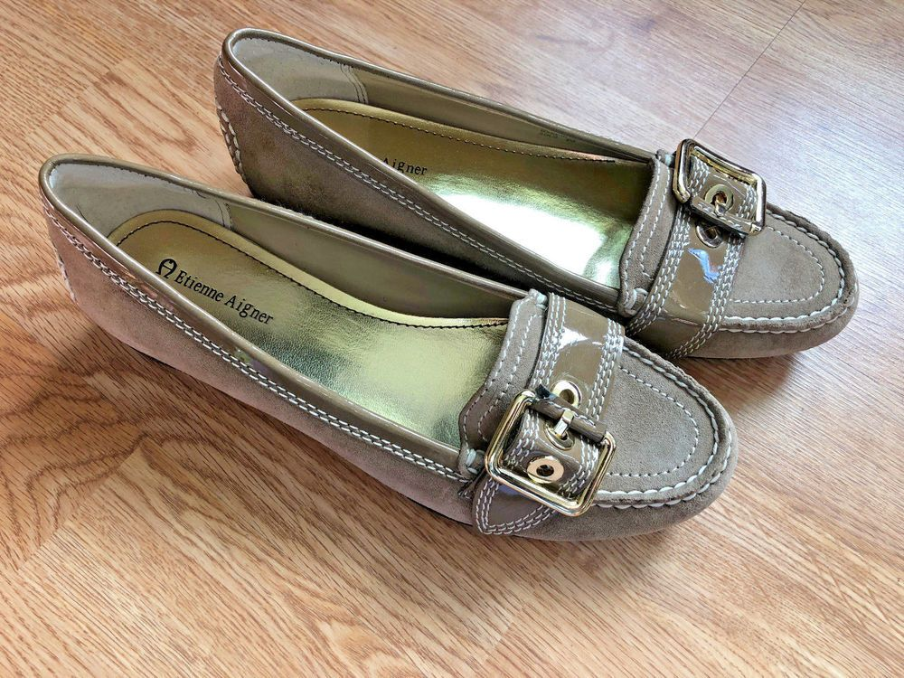 7075c3c58601 Women's Etienne Aigner Size 8 Solo Suede Leather Oxford Loafer Flats Beige  Brown | eBay