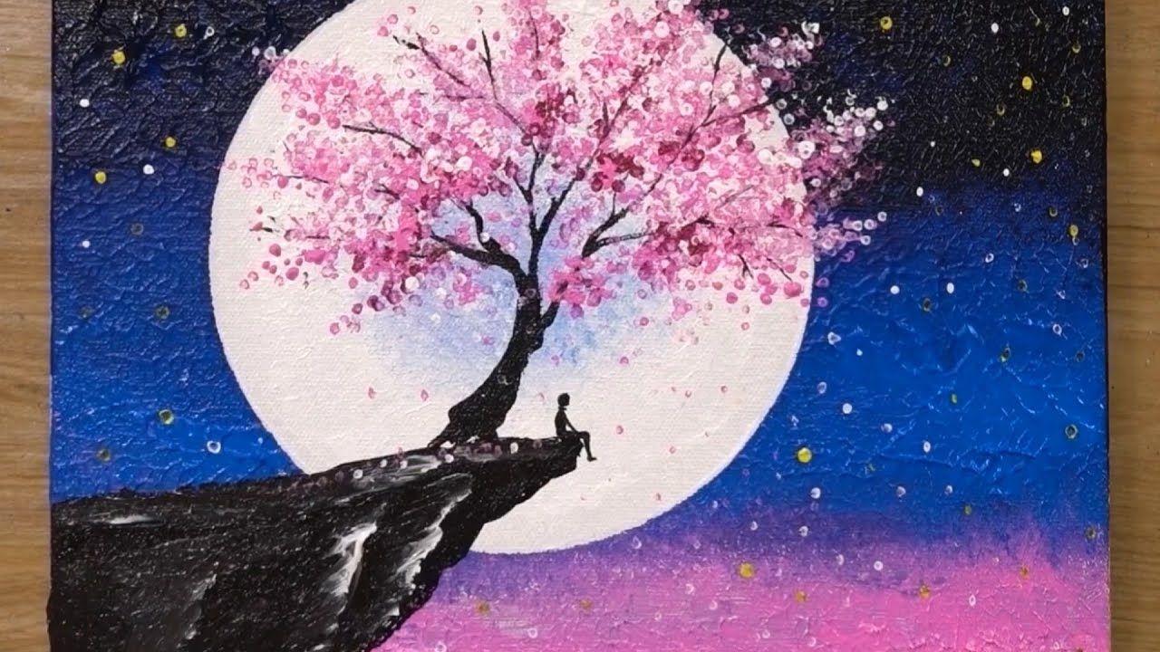 Flor De Cerezo Bajo La Luz De La Luna Tecnica De Pintura Acrilica 459 Cherry Blossom Painting Acrylic Cherry Blossom Painting Cherry Blossom Art