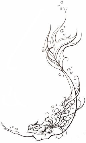 Awesome Unique Outline Swimming Mermaid Tattoo Design By Nahimaart