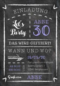 Kreide Party 30 Einladungskarte In Modernem Design Chalking