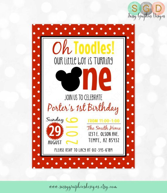 Oh Toodles Birthday Invitation Boy Invite Red Polka Dot First Mickey Mouse Print