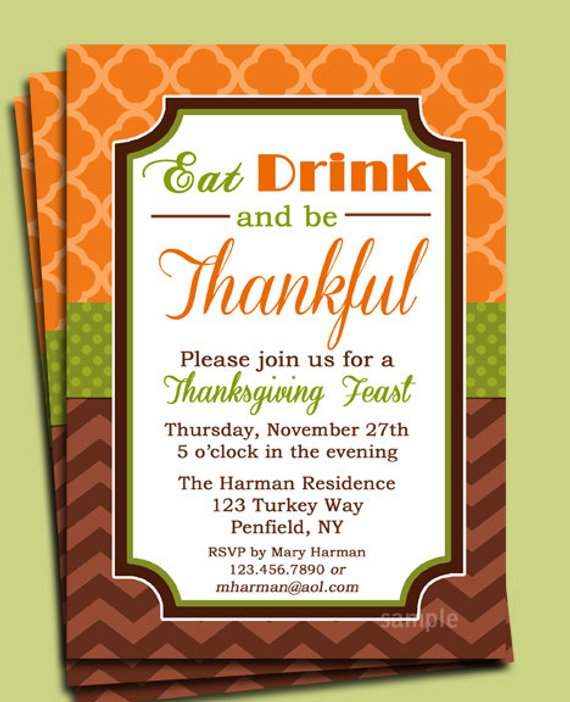 Eat Drink and be Thankful Thanksgiving Invitation Printable - Dinner