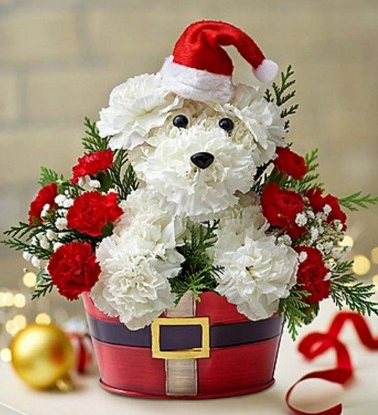 How To Make Flower Puppy Bouquet The Whoot Christmas Floral Arrangements Christmas Flower Arrangements Holiday Flower Arrangements