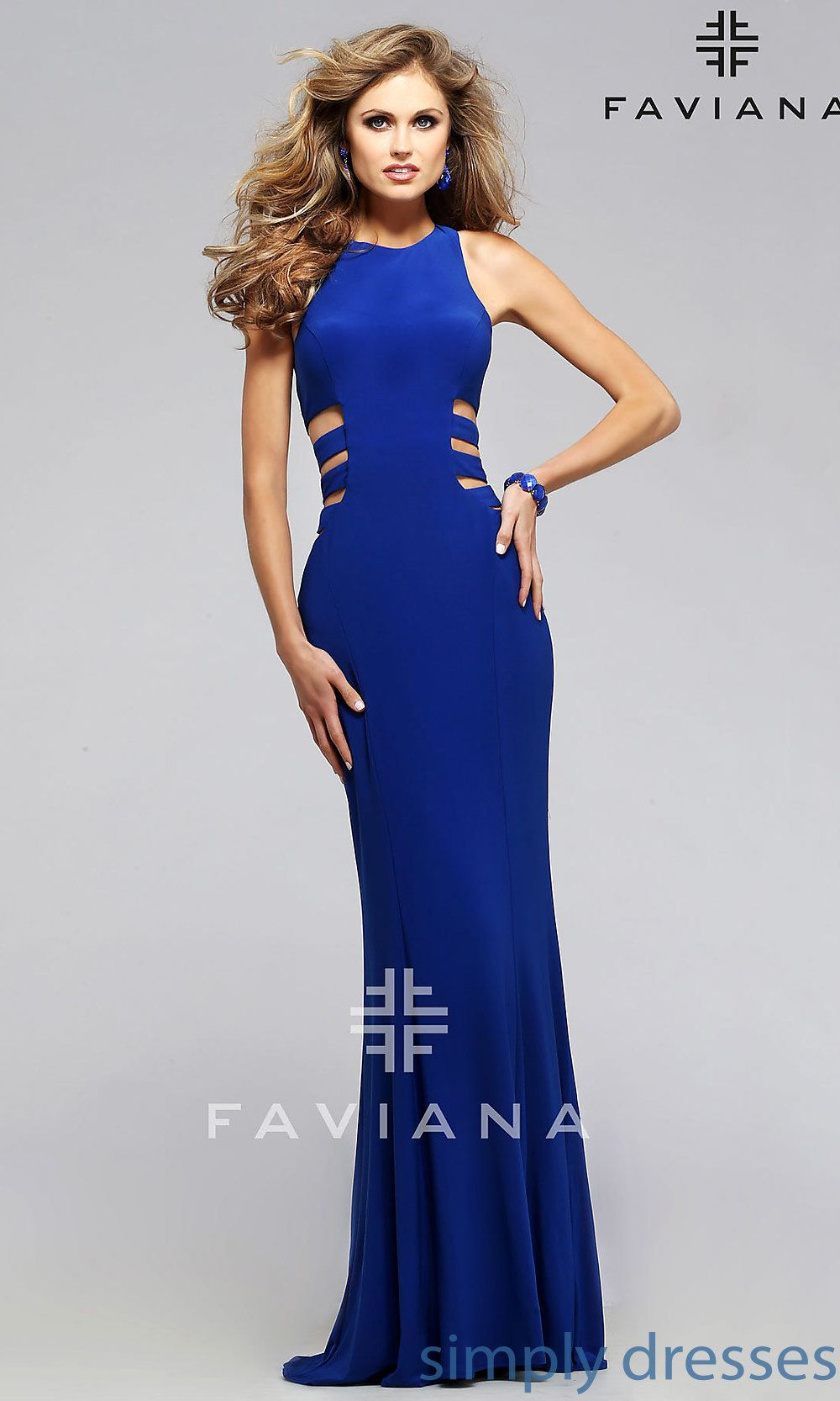 80e5f2e7d412 Shop floor length side cut out gowns by Faviana at SimplyDresses. Long  dresses with high necks and T-backs for special occasions or formals.