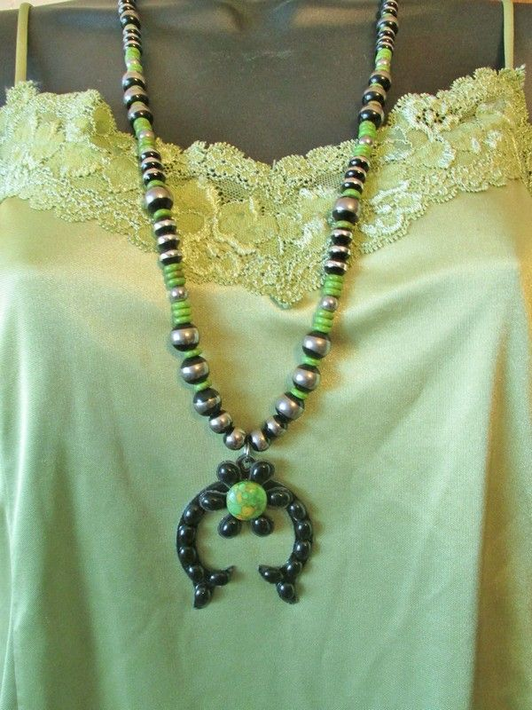 Lime Green Squash Blossom Necklace Available at Buckaroo Bay Cowgirl Jewelry  BuckarooBay.com