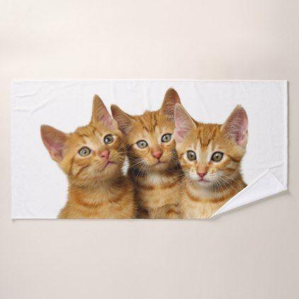 Three Cute Ginger Cat Kittens Friends Head Photo - Bath Towel Set ...