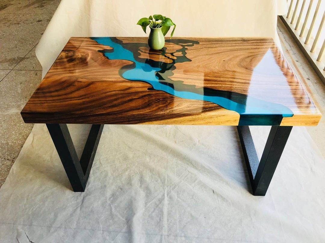 Table Design Mobilier En Bois Resine Epoxy Bois Idees De Meubles